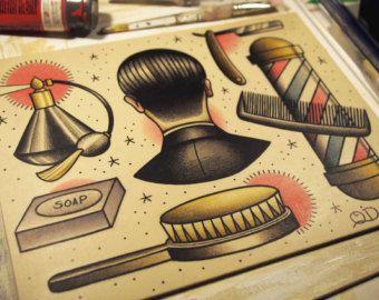 Flash del tatuaje de la vida del peluquero por ParlorTattooPrints