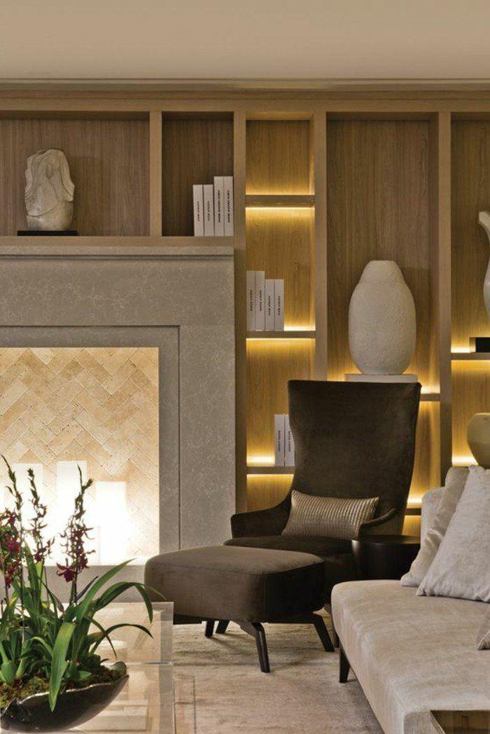 décoration-niche-murale-cheminée-décorative-fauteuil-noir-intérieur-simple-et-élégant