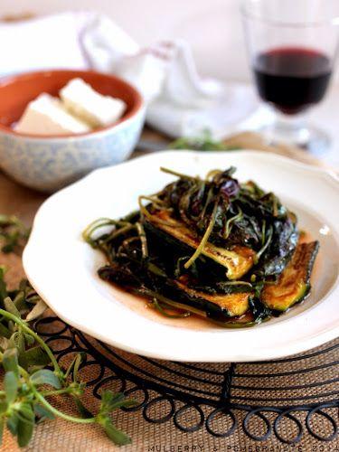 Braised greens - vlita, purslane and zucchini in tomato (τσιγαριστά χόρτα)