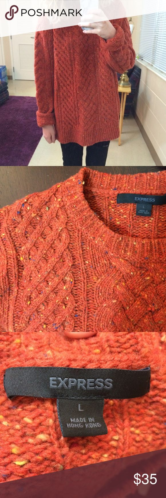 Speckled Orange Oversized Sweater The most amazing rust speckled sweater 😍😍 love it but a bit too oversized for me. It's a size large but fits pretty oversized. I'm a medium and 5.4 for reference. It's a tad itchy but I wore a long sleeve undershirt underneath and it was fine. It's very warm and thick. 80% wool and 20% nylon. Open to offers and 30% off bundles! Express Sweaters