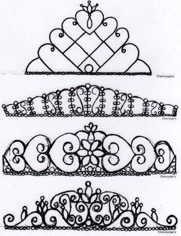 A lot of different tiara designs for royal icing tiaras