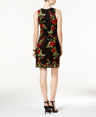 Donna Ricco Floral-Embroidered Mesh Dress - Black 10