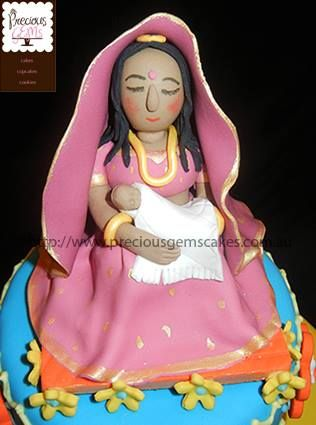 Mother and Child custom made cake topper for an Indian Baby Shower