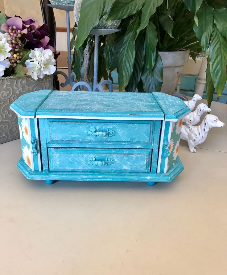 Vintage Painted Wooden Jewelry Box / Upcycled OOAK Designer Jewelry Chest / Shabby Cic Decoupaged Jewelry Box by ByeByBirdieDesigns on Etsy https://www.etsy.com/listing/540395539/vintage-painted-wooden-jewelry-box