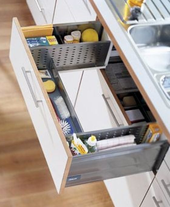 Drawer beneath sink. Keep sponges, brushes etc. off the counter, especially if the sink ends up being in the island.