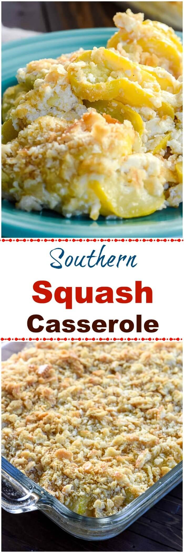 Southern Squash Casserole is a comforting side dish casserole, often served during the holidays, with tender, cooked yellow squash, onions,  sour cream and cheddar cheese topped with crushed buttery crackers. via @flavormosaic