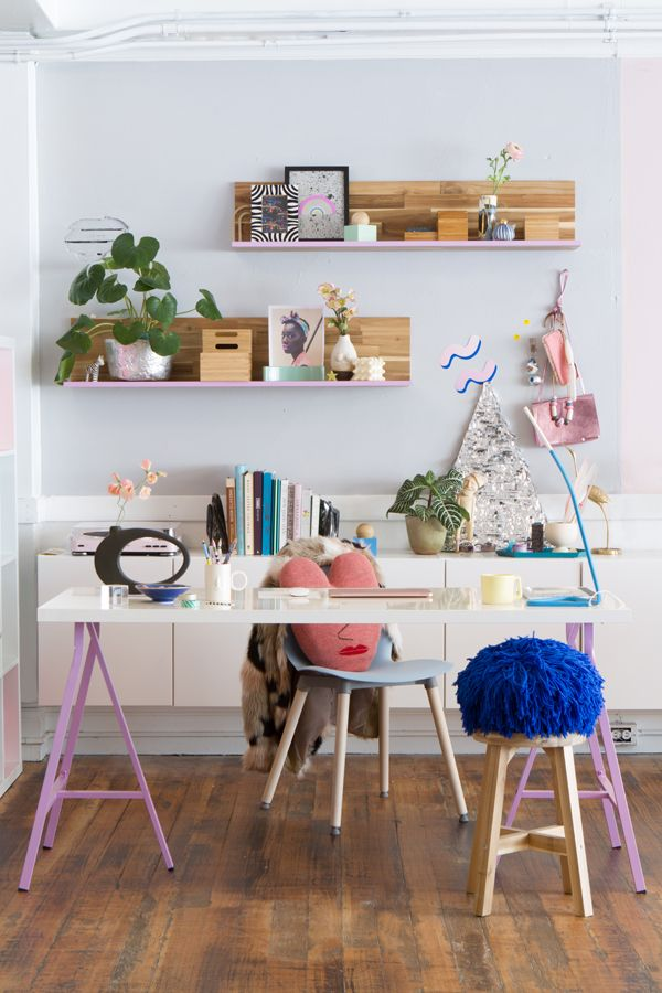 work home office 4 ways. oh happy day studio tour one desk 4 ways pastels eclectic fun workspace office work home