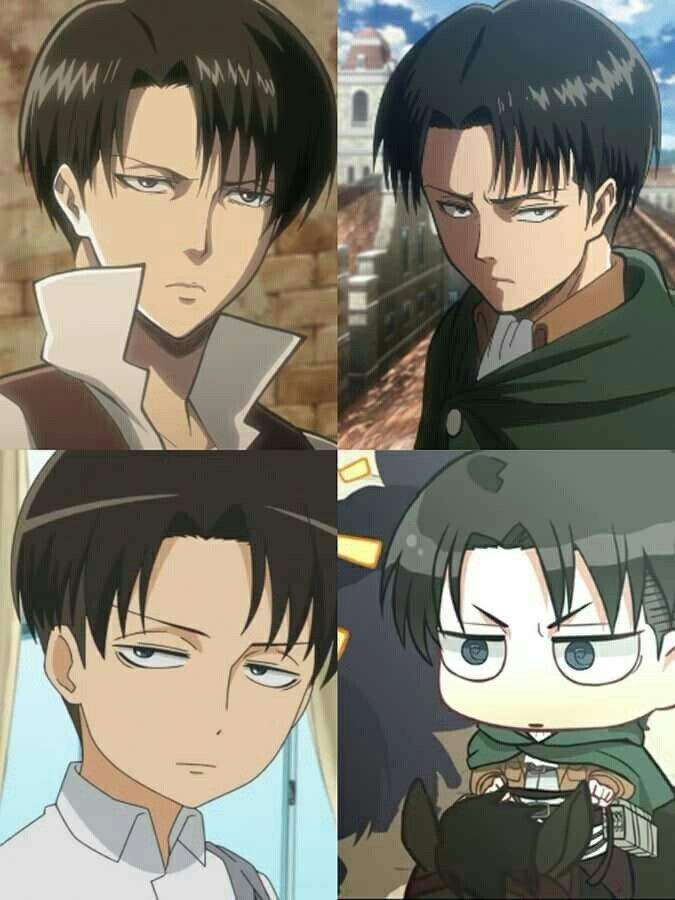 He looks so cute in all of them | Attack on Titan| Levi^^^hes not cute, he's handsome! Well… except for the bottom right one, then he's adorable in that one