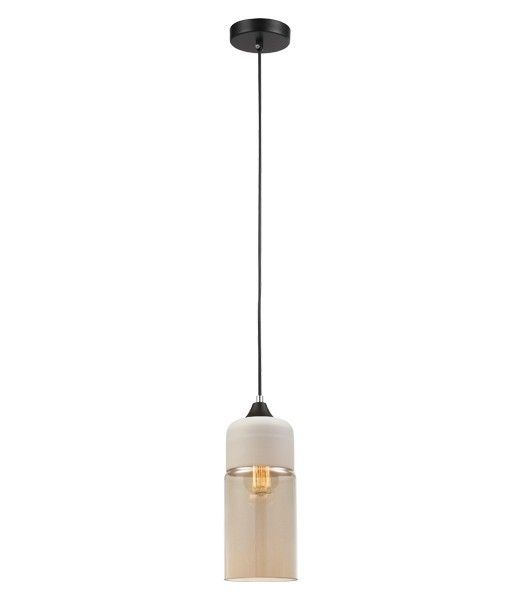 Casa 3 cylinder pendant white top and amber glass