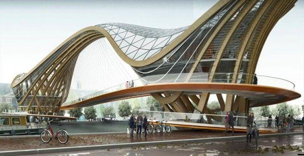 VILLE HYBRIDE©: Un pont habité pour Amsterdam selon Laurent Saint Val