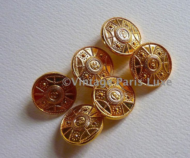 Authentic CHANEL Buttons, Stamped, Rare Vintage CC Logo