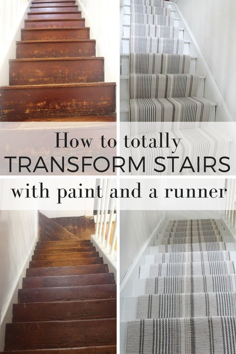 How I transformed my hardwood stairs with white paint and a Annie Selke Dash and Albert runner. DIY tutorial included.