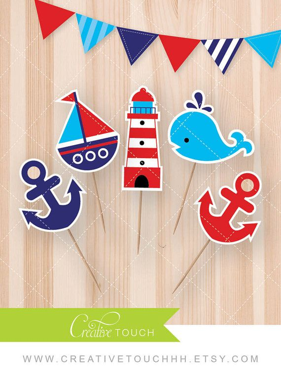 Nautical Cupcake Toppers Red and Navy Anchor by CreativeTouchhh