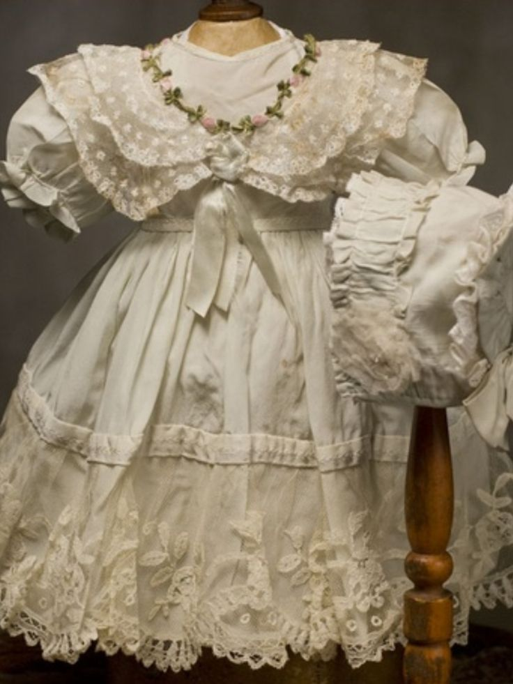 French Antique Dolls Dress and Bonnet