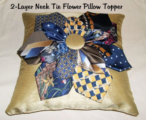 Memory Neck Tie Pillow Topper 2-Layer Flower by AWordFitlySpoken