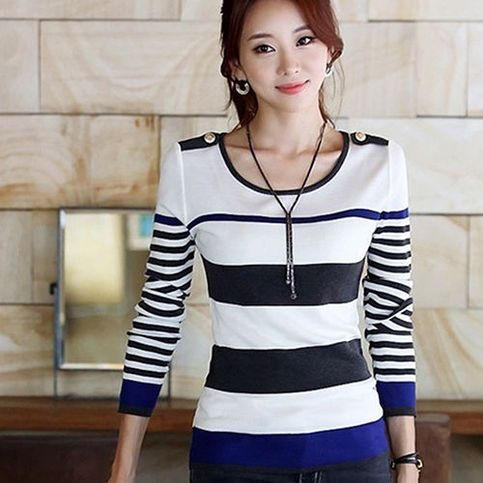 Specifications: Features+soft+material+and+striped+pattern. Special+round+neck+long+sleeve+casual+slim+tops+design. A+nice+choice+to+match+dress,+jeans+or+jacket.  Type:+Sweater Gender:+Women's Collar:+O-neck Material:+Cotton Size+Type:+Regular Style:+Fashion,+Casual Sleeve+Type:+Long+...
