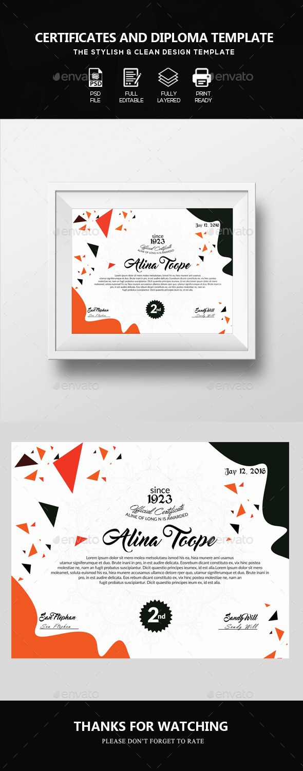 Academical Diploma Certificate Template - #Certificates Stationery