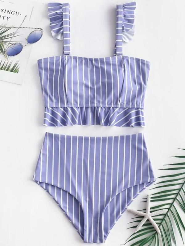 Ruffle High Waisted Stripe Plaid Bikini Swimsuit