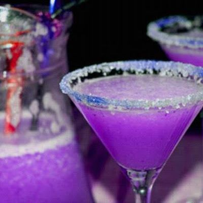 Purple Dragon Martini 3	oz vodka 1½	oz cranberry juice ½	oz blue Curacao liqueur ½	oz sweet and sour mix ½	oz of 7-Up 2-3	ice cubes in blender or food processor all ingredients and blitz 20 to 30 seconds on high speed. Salt the rim of your martini glass  Pour and Enjoy