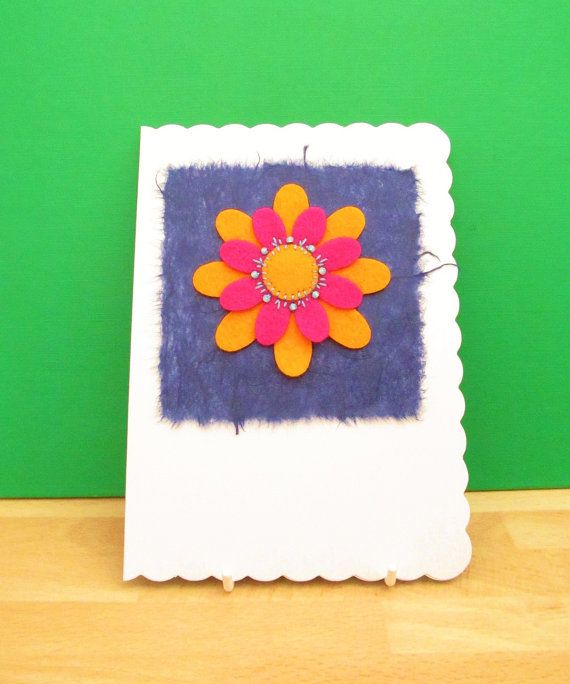 Felt Daisy Flower Card  Unique Textile Card  by CherryPips on Etsy