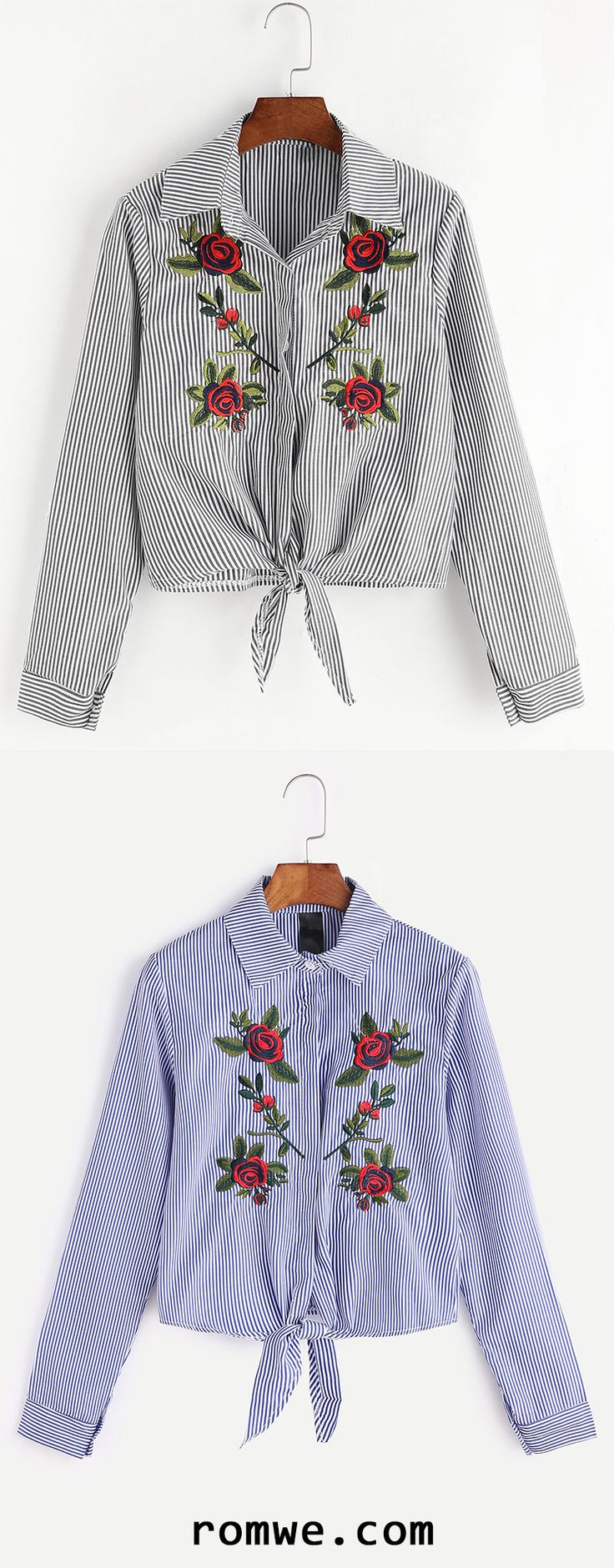 Striped Flower Embroidered Tie Hem Shirt