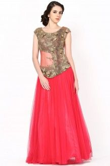 A Beautiful Coral Pink Color Gown With Antique Gold Dabka Kutdaana Work  Rs. 27,300