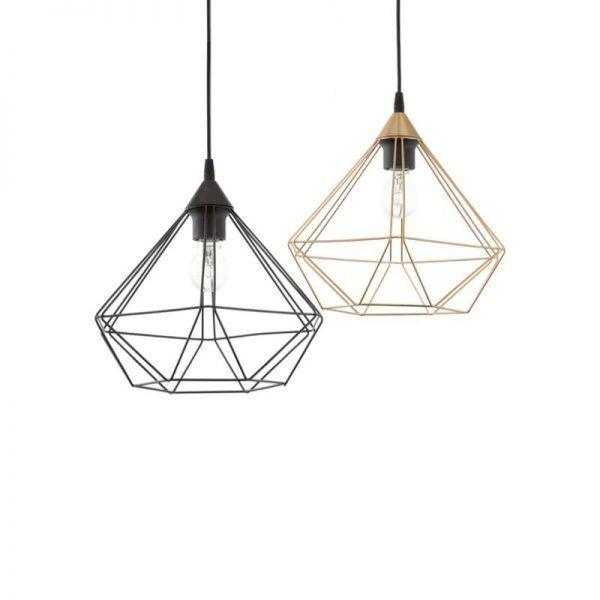 Este colgante, de línea minimalista y diseño geométrico en metal, es sofisticado y ligero, perfecto para ambientes nórdicos o industriales.