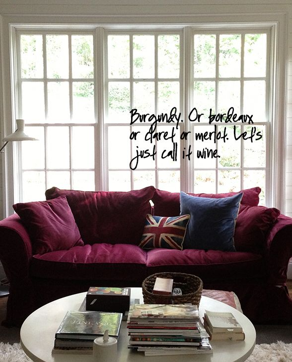 Burgundy Couch, Window Parts, Apartment Ideas, Sofas, Diapers, Decorating  Ideas,