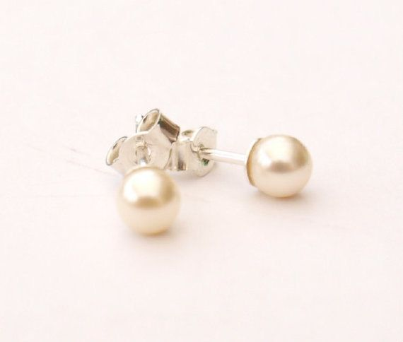 Pearl Stud Earrings - Swarovski Pearl Sterling Silver Earrings - Bridal Jewellery - Pearl Anniversary Gift, Birthday Gift, Bridesmaid's Gift by Makewithlovecrafts on Etsy