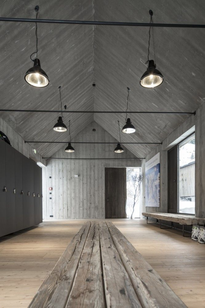 timber boards as ceiling liner over industrial beams - like this resolution, but realise it may be priced well out of realistic contention [Gogl Architekten . Hotel Wiesergut]