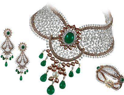 TBZ's wedding collection inspires and enables you to own beautiful and memorable jewellery to be worn with joy and treasured for generations. This extravagant yet intricately woven design detailed in diamonds and emeralds is bound to turn heads at any occasion.