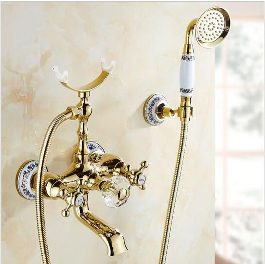shower head connects to faucet. Luxury Gold Brass Bathroom Faucet Bathtub Mixer Tap Wall Mounted Hand Held Shower  Head Kit Connects To Chrome Set With
