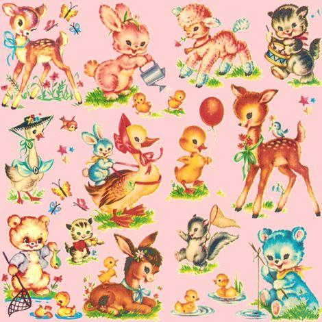 Favorite PINK vintage Baby Animals Paris Bebe fabric by parisbebe on Spoonflower - custom fabric