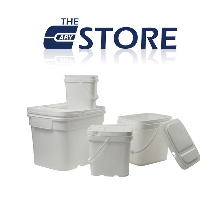 Plastic pails and lids, rectangular EZ Stor containers, plastic tight head containers, drums, pry-off containers and snap on tubs, ink containers, and more.