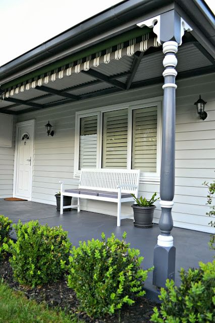 weatherboards are painted in Dulux 'Tranquil Retreat' and the pathway is painted in Ironstone (Colorbond Colour).