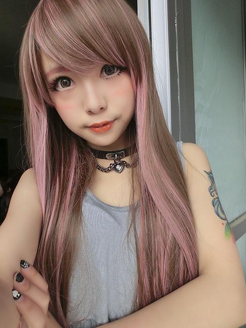 [Six] export the Japanese Harajuku GAL Japanese wig matt heat pink streaked brown straight hair - Taobao