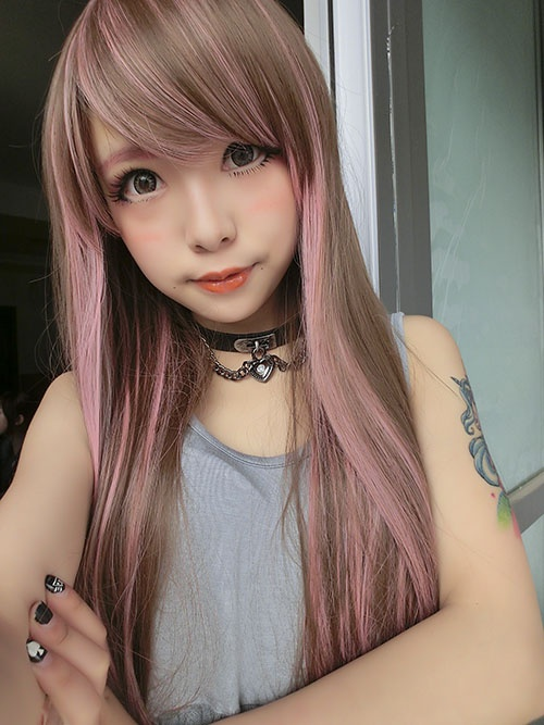 [Six] export the Japanese Harajuku GAL Japanese wig matt heat pink streaked brown straight hair