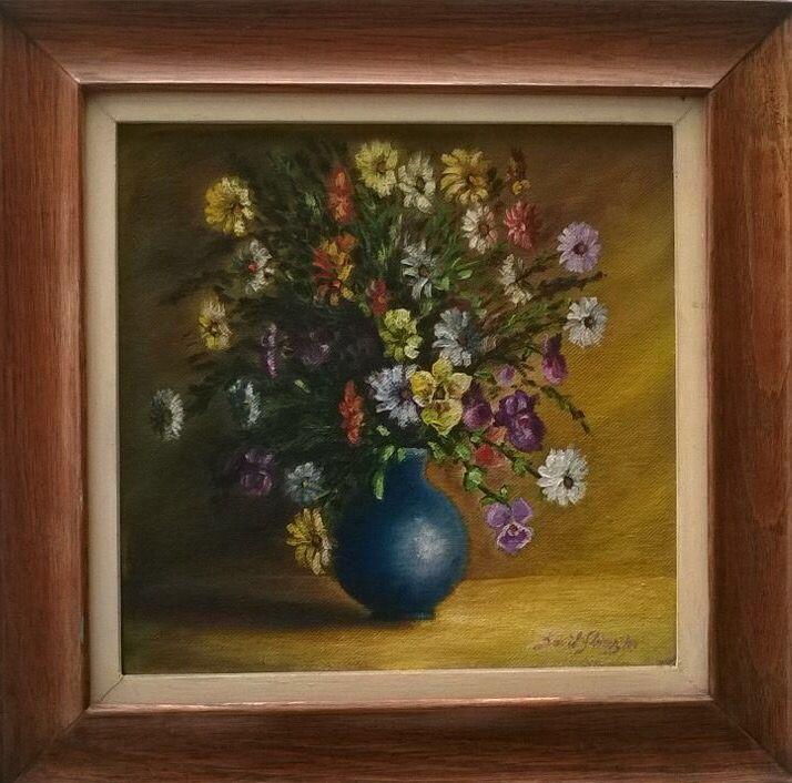 """""""Jarrón con flores"""" (Vase with flowers). 2002. 27x27cm. Oil on canvas by David Florez."""