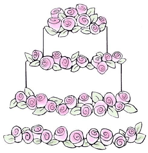 Wedding Cake Stamp Border Cake Pinterest