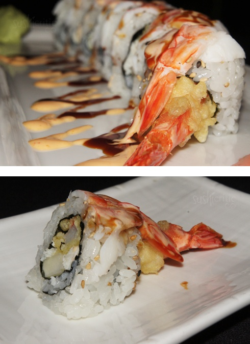 White Gypsy Roll: shrimp tempura, crab and avocado inside. On top there was sweet shrimp, eel sauce and mayo.