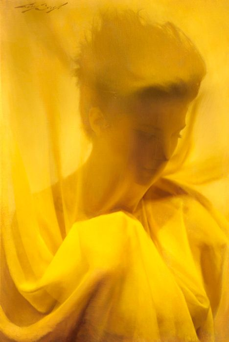 gobe:    Casey Baugh, Cloaked in Yellow, oil 20 x 30""