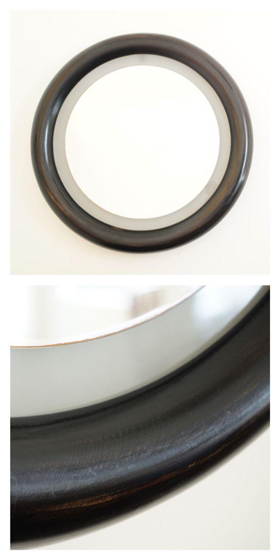 Italian illuminated round mirror ebonised wood frame c.1960.