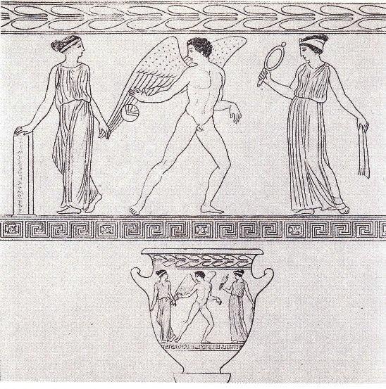 Eroti greci,precursori degli Angeli,giovani uomini bellissimi muniti di grandi ali di cigno, spesso raffigurati intenti ad attrarre la donna , ritratta come ammaliata ed esitante, prendendola per mano o affascinandola mediante arpe, o specchi ,o fiaccole o palle da gioco.