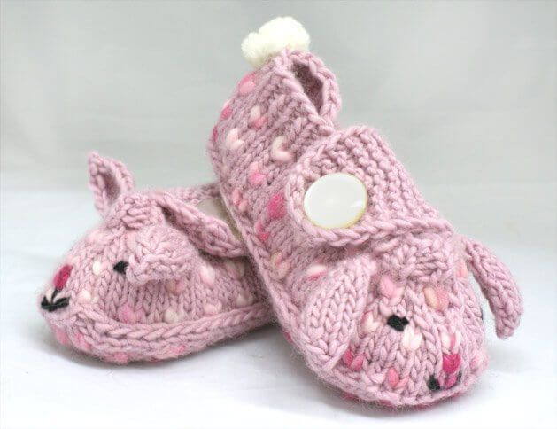 Adorable Knitted Thrummed Bunny Slippers [FREE Pattern]