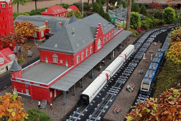 레고, 철도 역, 레고에서, 철도, 레고랜드, 덴마크, 빌 룬 드, 레고 블록, 모델 기차, 모델