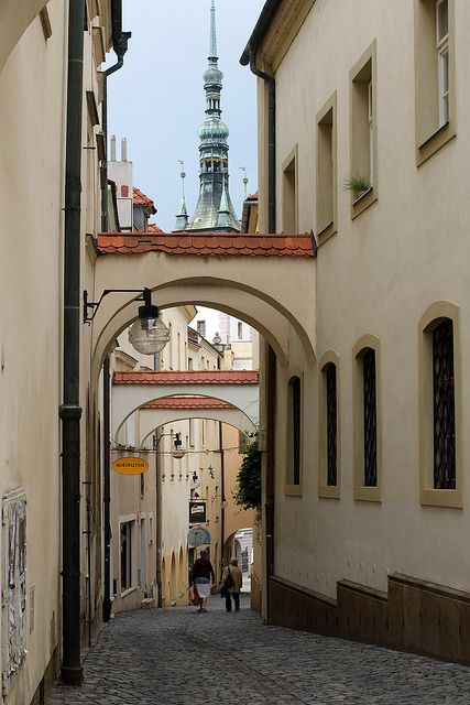 Street view in Olomouc (North Moravia), Czechia.