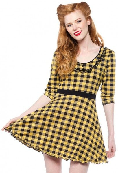 Sourpuss London Patsy dress black yellow plaid print jurk schotse ruit zwart geel vintage 50s look