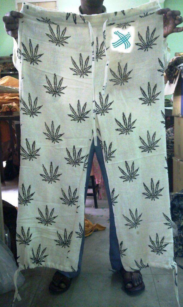 Hepm print cotton hand loom khadi trouser