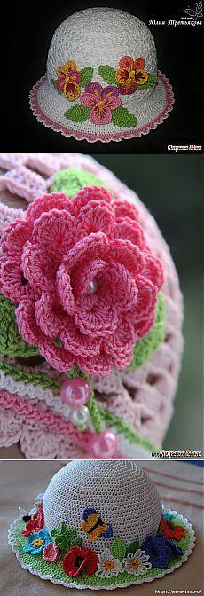 Летние шляпки связанные крючком с цветами - много схем,идей и мк.