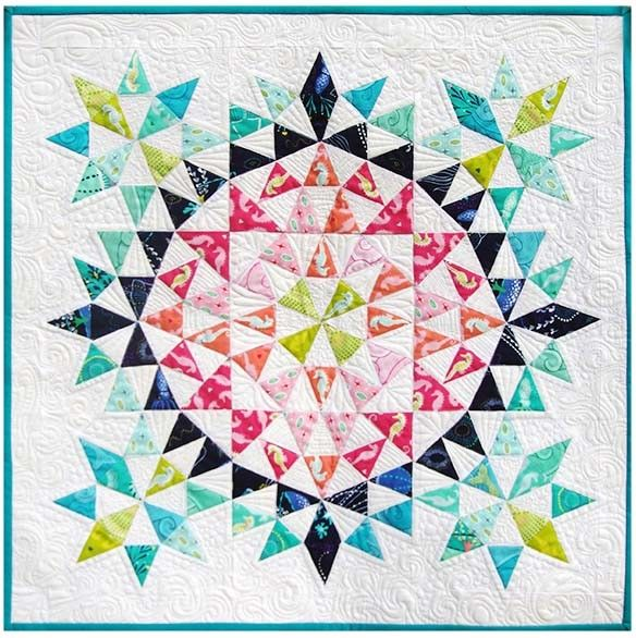 Kaleidoscope Mini Quilt by Debbi Groskopf, seen at Robert Kaufman Fabrics.